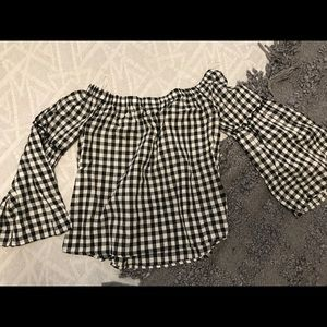 Who What Wear Gingham Off the Shoulder Top